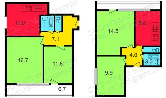 Планировка квартир ii-68-02/16м. ремонт в ii-68-02/16м..